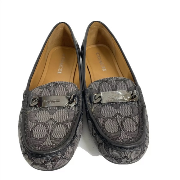 COACH Olive Signature Embossed Flats Loafers Shoe
